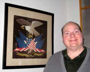 Johnny standing next to the American Eagle print in a meeting room in Upper Merion Township, PA.  This picture was taken in the dark!!!