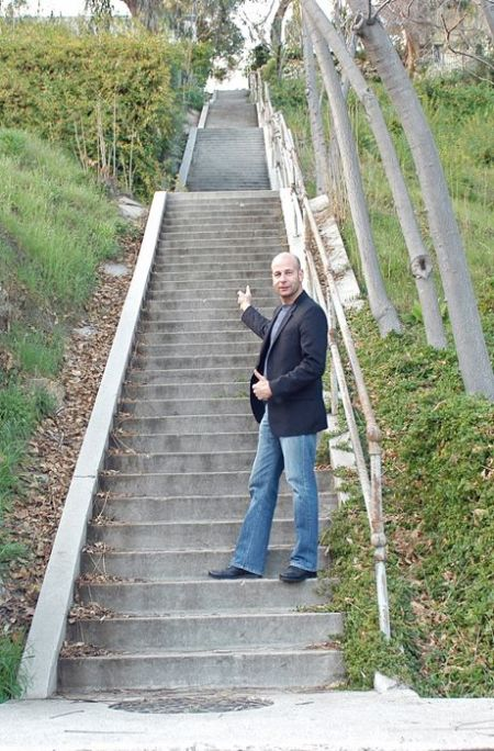 Jim Pauley at the famous Three Stooges Steps